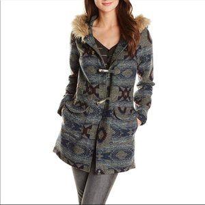 Billabong faux fur hood Aztec print jacket Large
